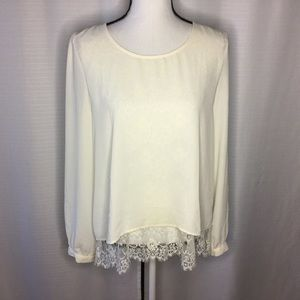ANTHROPOLOGIE Mine Cream Top w/Lace Liner Size L